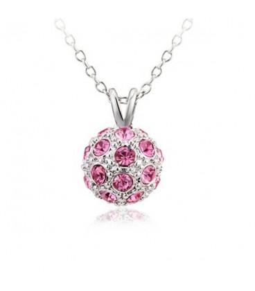 ékszer webshop Rózsaszín köves shamballa nyaklánc