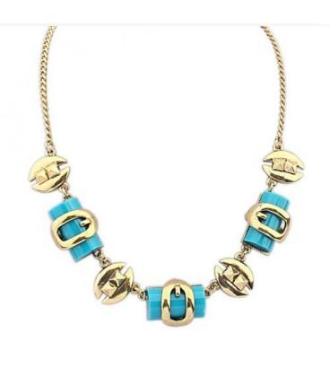 ékszer webshop Egyedi formákkal díszített bizsu nyaklánc- Kék