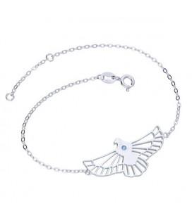 Ezüst sas karkötő kék kristállyal