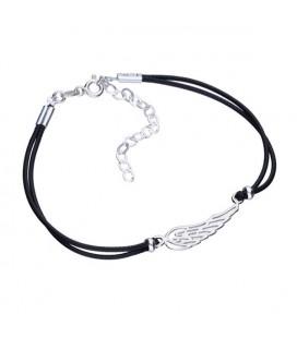 Ezüst angyalszárny karkötő fekete zsinórral