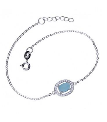Egyedi ezüst karkötő kék macskaszem kővel