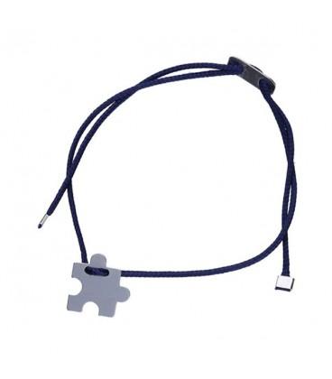Gravírozható puzzle ezüst karkötő sötétkék zsinórral