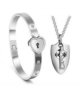 Kulcs a szívedhez - nemesacél páros karkötő és nyaklánc szett