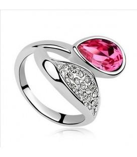 Rózsaszín köves tulipán gyűrű