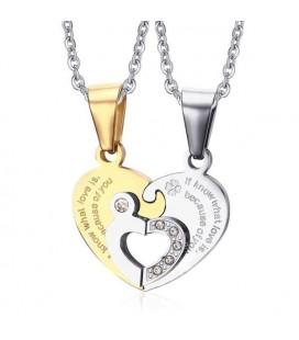 Összeilleszthető, szív alakú páros acél nyaklánc felirattal
