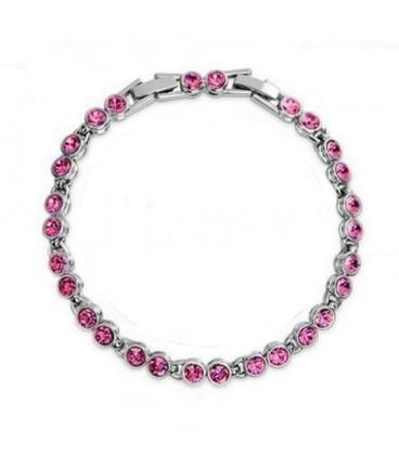 ékszer webshop Kerek kristályos, elegáns karlánc - rózsaszín