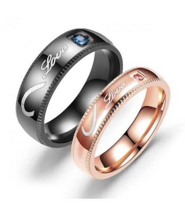Nemesacél női gyűrű fél szív mintával