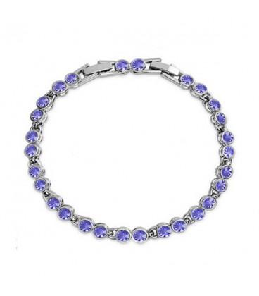 ékszer webshop Kerek kristályos, elegáns karlánc - lila