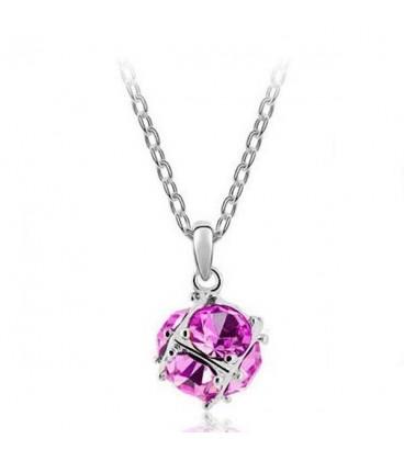 ékszer webshop Rózsaszín kristályos gömb nyaklánc
