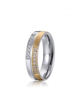 Exkluzív kéttónusú női nemesacél karikagyűrű, cirkónia kövekkel