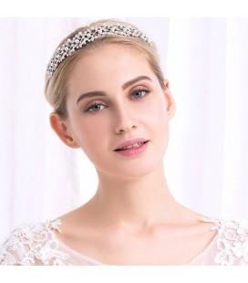 Gyöngyös, kristályleveles tiara menyasszonyoknak