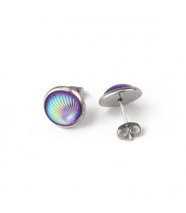 Nemeacél kör fülbevaló kagyló mintával - lila