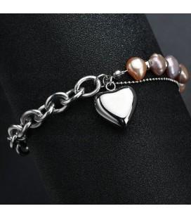 Nemesacél szív karkötő valódi gyöngyökkel