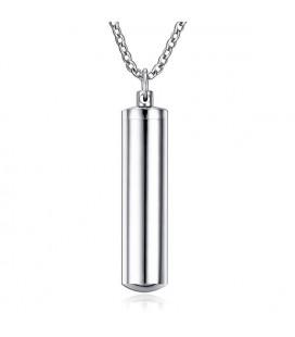 Gravírozható, nyitható henger alakú nemesacél medál nyaklánccal - 48 mm