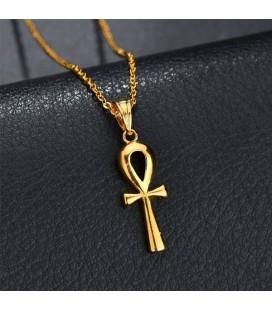Nemesacél Ankh kereszt medál nyaklánccal - arany