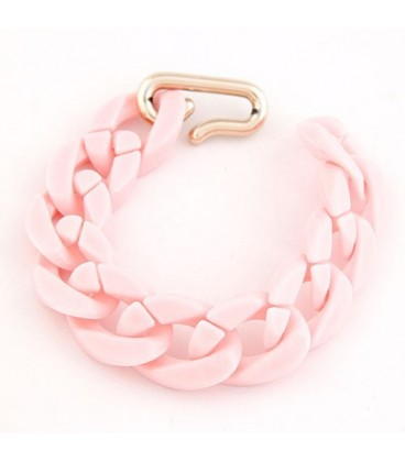 ékszer webshop Vastag láncos bizsu karkötő - pasztell rózsaszín