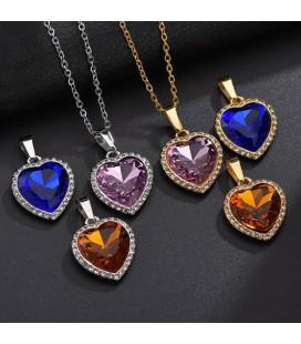 Nemesacél szív medál nyakláncon, Swarovski kristállyal - Kobaltkék