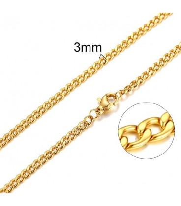 Lapított láncszemes, aranyozott nemesacél nyaklánc (50 cm - 3 mm)