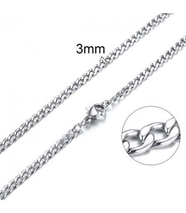 Lapított láncszemes nemesacél nyaklánc (60 cm - 3 mm)