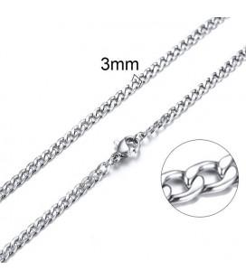 Lapított láncszemes nemesacél nyaklánc (50 cm - 3 mm)