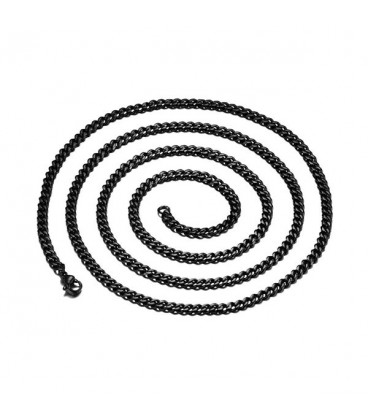 Sűrű láncszemes nemesacél nyaklánc fekete bevonattal (60 cm - 5 mm)