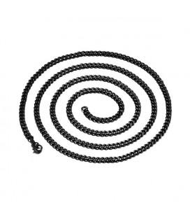 Sűrű láncszemes nemesacél nyaklánc fekete bevonattal (60 cm - 7 mm)