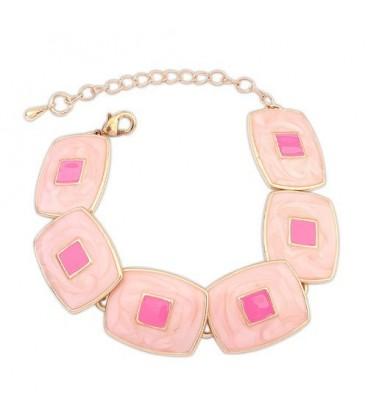 ékszer webshop Rózsaszín négyzetes karkötő