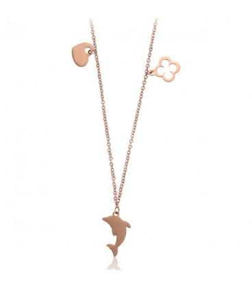 Delfin medálos nemesacél nyaklánc rozé arany bevonattal