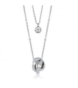 Kétsoros nemesacél nyaklánc kristállyal és gyűrű medállal