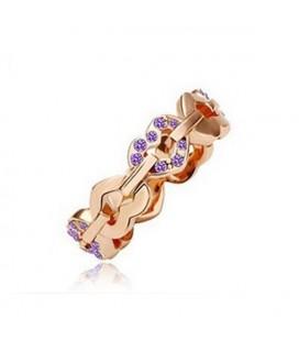 Lila színű apró kövekkel kirakott szív gyűrű
