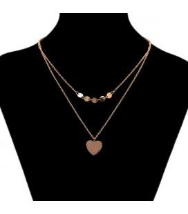 Dupla soros nemesacél nyaklánc szív medállal és kör elemekkel