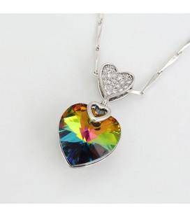 Szív alakú, Swarovski kristályos nyaklánc - szivárvány