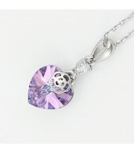 Szív & rózsa, Swarovski kristályos nyaklánc - Vitrail light