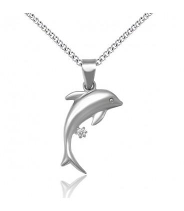 Delfin nemesacél medál nyakláncon, cirkóniával