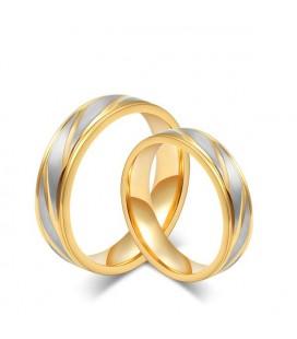 Aranyozott, vésett mintájú férfi nemesacél karikagyűrű
