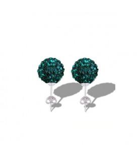ékszer webshop Méregzöld kristályos shamballa fülbevaló