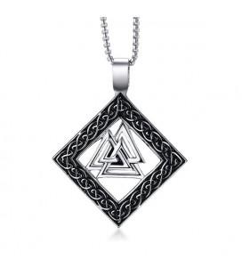 Viking acél medál nyakláncon - Valknut szimbólum