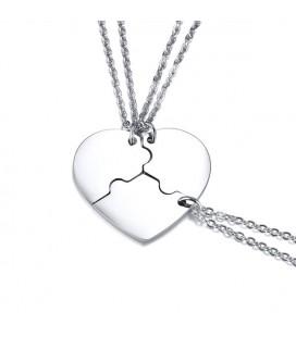 Puzzle szív - 3 részes, gravírozható barátság medál nemesacélból