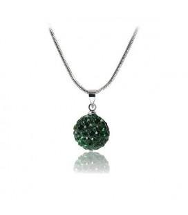 Shamballa nyaklánc méregzöld kristályokkal