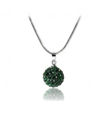 ékszer webshop Shamballa nyaklánc méregzöld kristályokkal