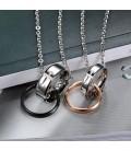 Nemesacél páros medál szett nyaklánccal - gyűrűk kereszt mintával