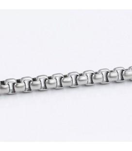 Négyzetes, sűrű láncszemes nemesacél férfi nyaklánc (61 cm - 7 mm)