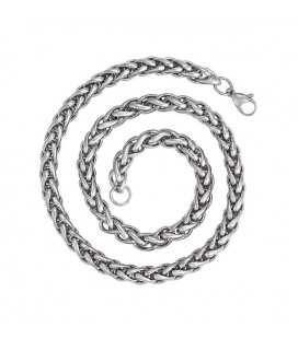 Vastag, fonott szemes acél nyaklánc férfiaknak (7 mm x 61 cm)