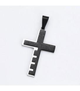 Nemesacél kereszt medál nyakláncon, fekete-ezüst színben