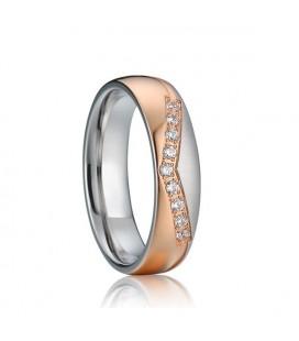 Exkluzív, kristályos női nemesacél karikagyűrű rozé arany bevonattal