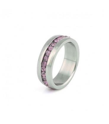 ékszer webshop Rózsaszín kristályos nemesacél gyűrű
