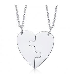 Puzzle - 2 részes, gravírozható nemesacél szív medál