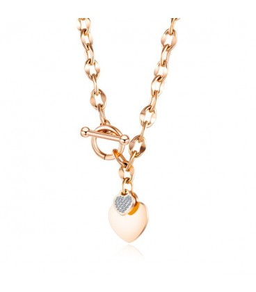 Szív díszes nemesacél nyaklánc - rozé arany