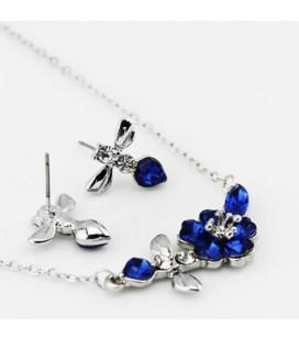 ékszer webshop Kék kristályos virágfüzér ékszerszett