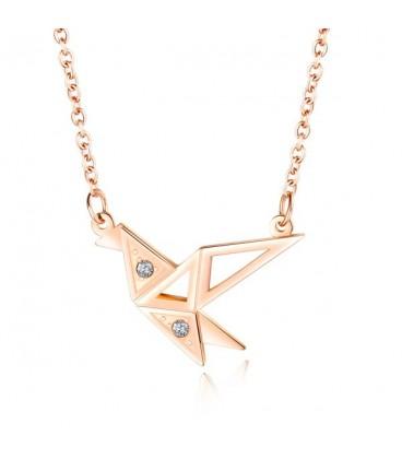 Origami kolibri nemesacél nyaklánc - rozé arany